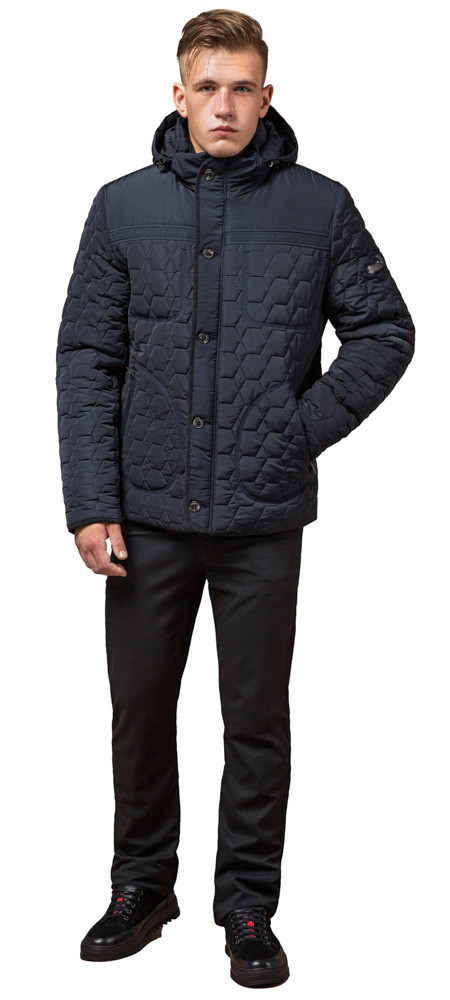 Куртка зимняя мужская качественная цвет темно-синий-черный модель 3570 (ОСТАЛСЯ ТОЛЬКО 46(S))