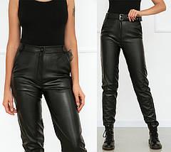 """Женские брюки кожаные на флисе """"Muse""""  Батал, фото 3"""