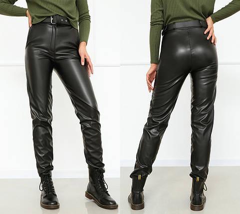 """Женские брюки кожаные на флисе """"Muse""""  Батал, фото 2"""