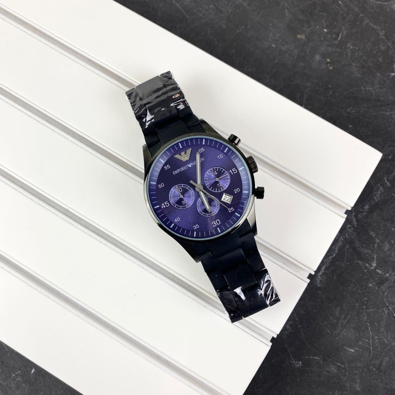 Мужские наручные часы Emporio Armani AR-5905 Black-Blue Silicone