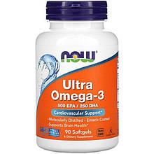 """Рыбий жир NOW Foods """"Ultra Omega-3"""" поддержка сердечно-сосудистой системы (90 капсул)"""