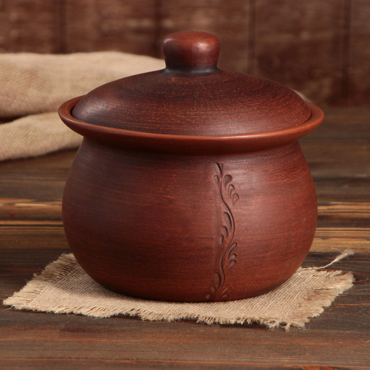 Жаровня духовая «Кашник» красная керамика 3,5 л  (755)