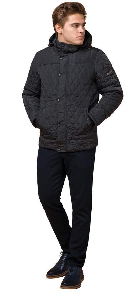 Зимняя стёганая ромбами куртка мужская графитовая модель 24534
