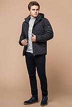 Зимняя стёганая ромбами куртка мужская графитовая модель 24534, фото 3