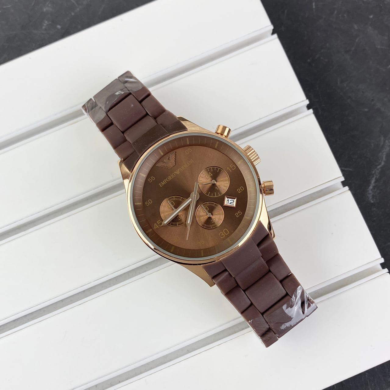 Мужские наручные часы Emporio Armani AR-5905 Gold-Brown Silicone