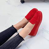 ТОЛЬКО 39 р! Стильные мокасины - слипоны женские красные натуральная замша, фото 7