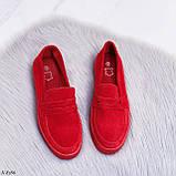 ТОЛЬКО 39 р! Стильные мокасины - слипоны женские красные натуральная замша, фото 8