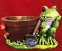 Кашпо для цветов садовое с декором Лягушка с горшком