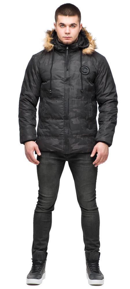 Черная зимняя мужская куртка с воротником модель 25310