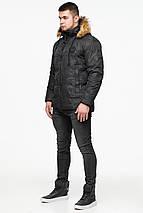 Черная зимняя мужская куртка с воротником модель 25310, фото 2