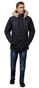 Черно-синяя парка зимняя мужская теплая модель 14015