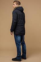 Черно-синяя парка зимняя мужская теплая модель 14015, фото 3