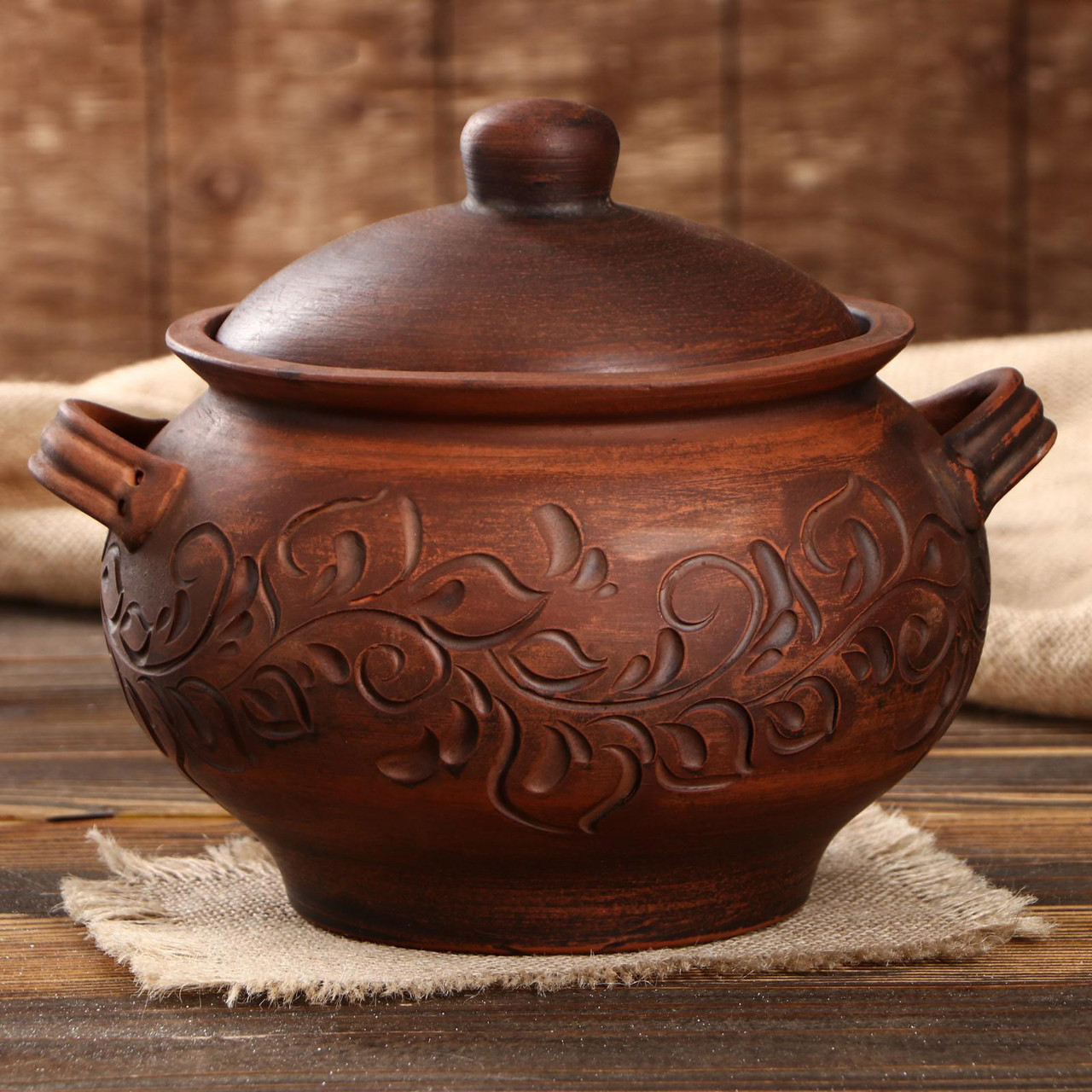 Жаровня духовая «Супник» красная керамика 3,2 л с узором (756)