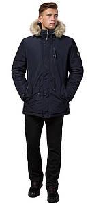 Парка синяя зимняя мужская прямого фасона модель 31720 (ОСТАЛСЯ ТОЛЬКО 46(S))