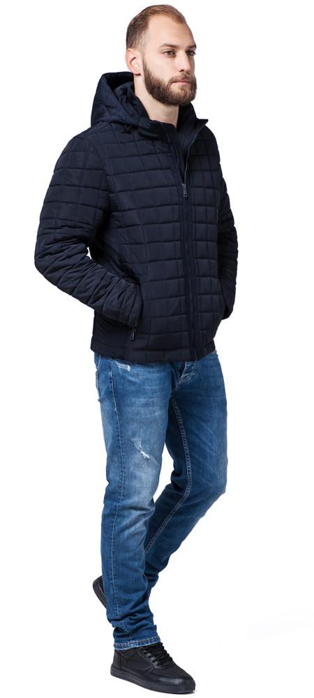 Темно-синяя куртка мужская осенне-весенняя короткая модель 2475 (ОСТАЛСЯ ТОЛЬКО 46(S))