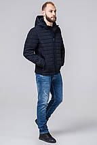 Темно-синяя куртка мужская осенне-весенняя короткая модель 2475 (ОСТАЛСЯ ТОЛЬКО 46(S)), фото 2