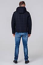 Темно-синяя куртка мужская осенне-весенняя короткая модель 2475 (ОСТАЛСЯ ТОЛЬКО 46(S)), фото 3
