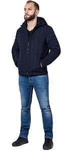 Практичная мужская куртка осенне-весенняя тёмно-синяя модель 2475 (ОСТАЛСЯ ТОЛЬКО 46(S))