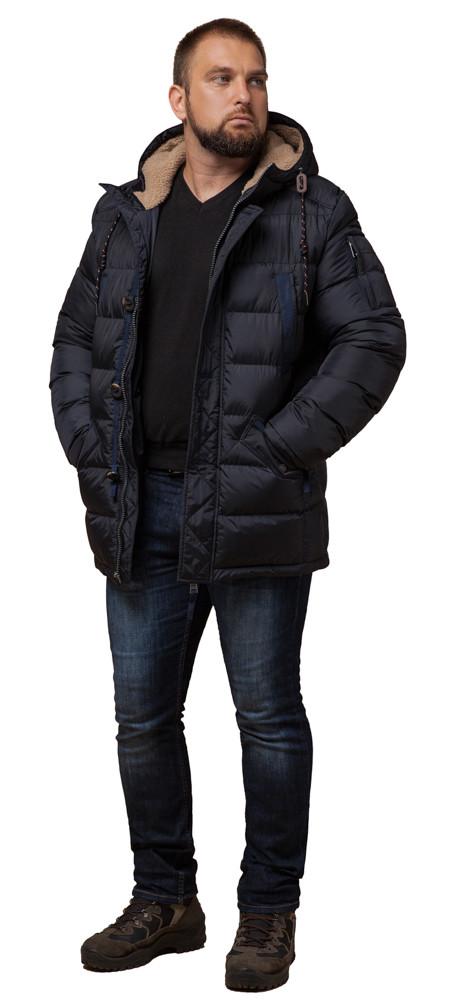 Сине-черная мужская куртка с капюшоном зимняя модель 26402 (ОСТАЛСЯ ТОЛЬКО 46(S))