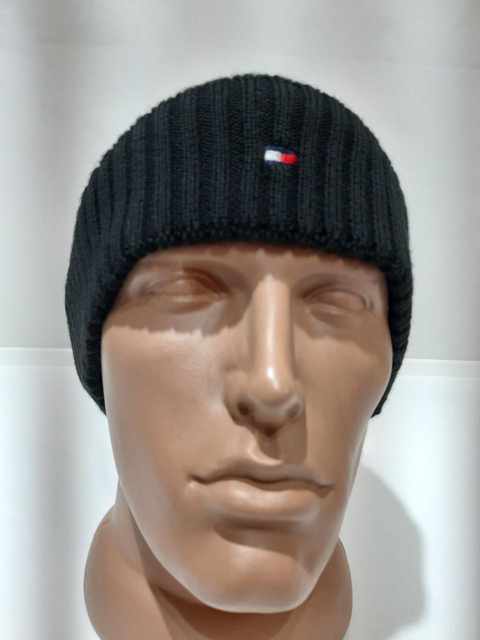 Теплая вязаная мужская шерстяная зимняя шапка с отворотом черная Турция