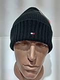 Теплая вязаная мужская шерстяная зимняя шапка с отворотом черная Турция, фото 10