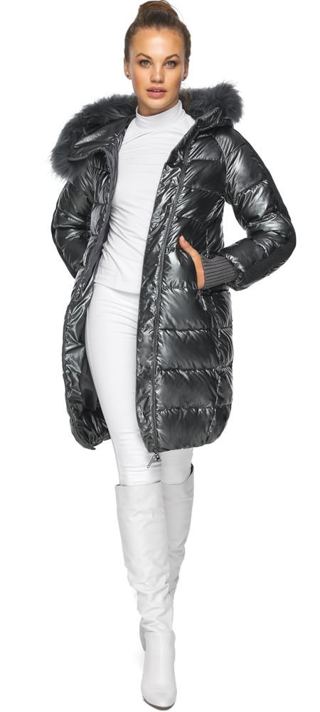 Куртка женская с манжетами зимняя цвет темное серебро модель 42150