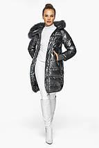 Куртка женская с манжетами зимняя цвет темное серебро модель 42150, фото 2