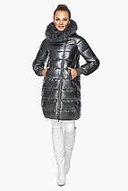 Куртка женская с манжетами зимняя цвет темное серебро модель 42150, фото 3