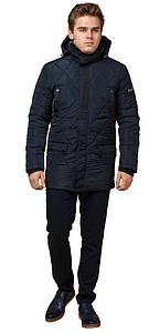 Оригинальная мужская куртка с ромбовидными строчками синяя модель 44842 (ОСТАЛСЯ ТОЛЬКО 48(M))