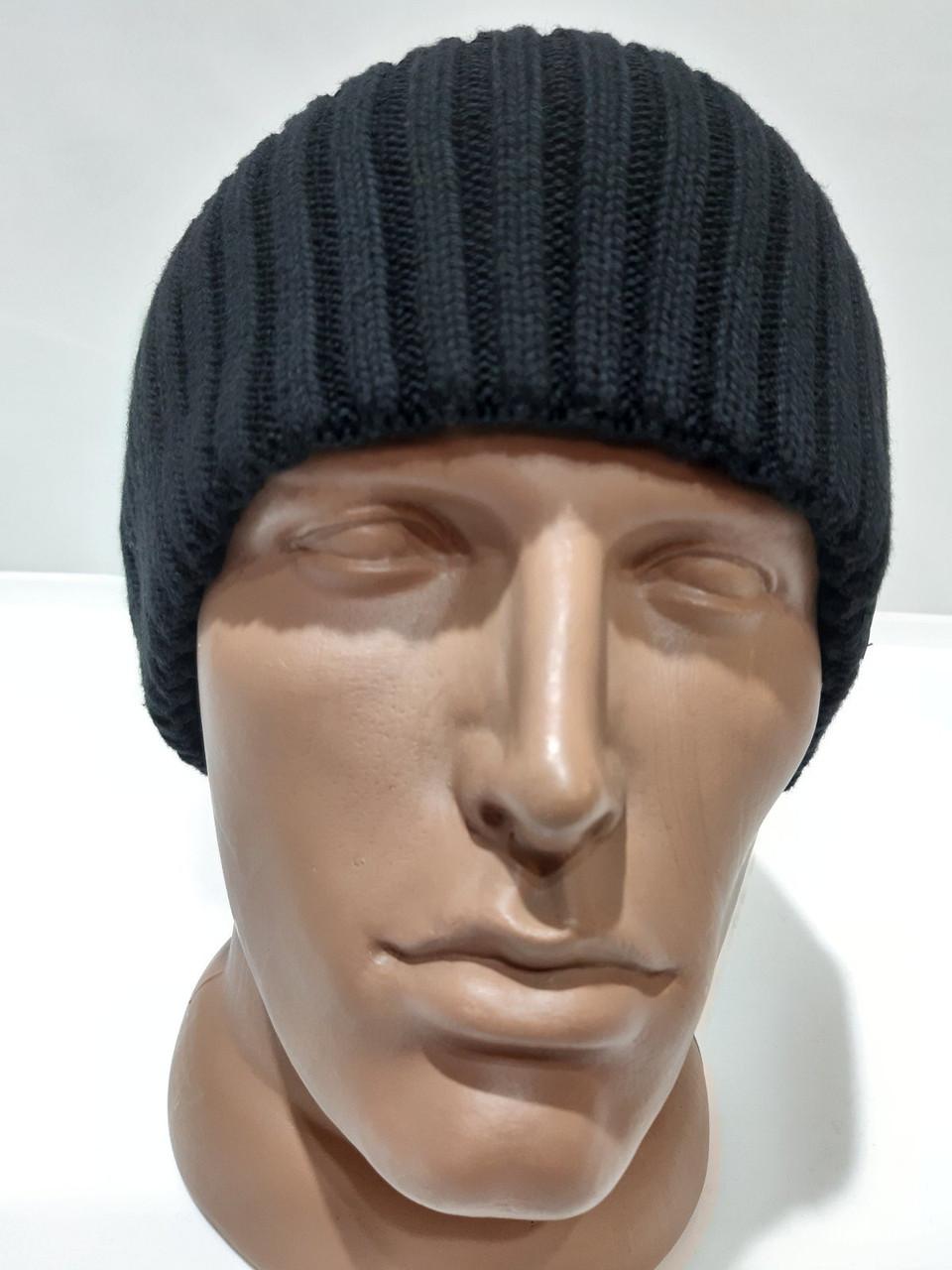 Теплая мужская шерстяная зимняя шапка с отворотом черная Турция