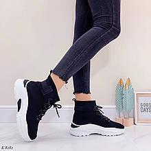 Кроссовки высокие черные женские текстиль