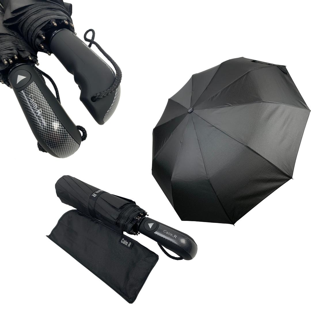 """Мужской складной зонт-полуавтомат на 10 спиц с системой """"антиветер"""" от Calm Rain, прямая ручка, черный, 345-1"""