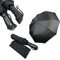 """Мужской складной зонт-полуавтомат на 10 спиц с системой """"антиветер"""" от Calm Rain, прямая ручка, черный, 345-1, фото 1"""
