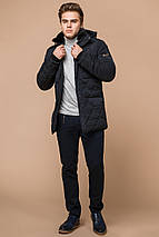 Темно-синяя мужская куртка с воротником зимняя модель 44842 (ОСТАЛСЯ ТОЛЬКО 48(M)), фото 3