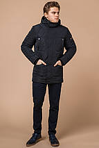 Темно-синяя мужская куртка с воротником зимняя модель 44842 (ОСТАЛСЯ ТОЛЬКО 48(M)), фото 2
