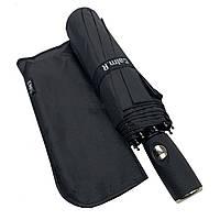 """Зонт чоловічий складной-напівавтомат на 10 спиць з системою """"антиветер"""" від Calm Rain, пряма ручка, чорний, 360, фото 1"""
