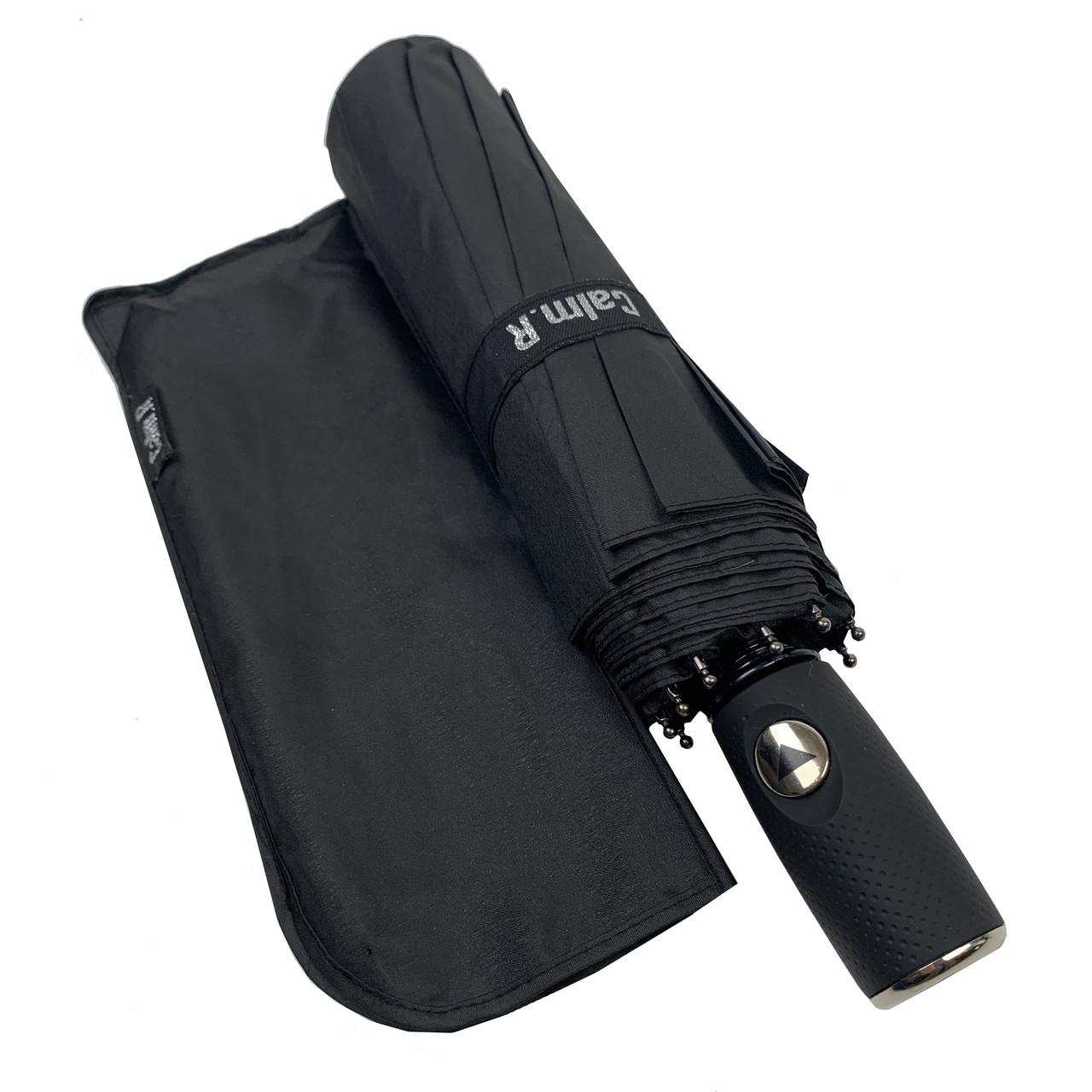 """Зонт чоловічий складной-напівавтомат на 10 спиць з системою """"антиветер"""" від Calm Rain, пряма ручка, чорний, 360"""