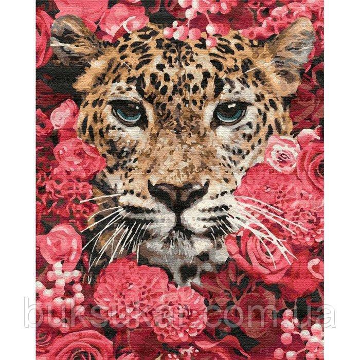 "Картина по номерам "" Леопард у квітах """