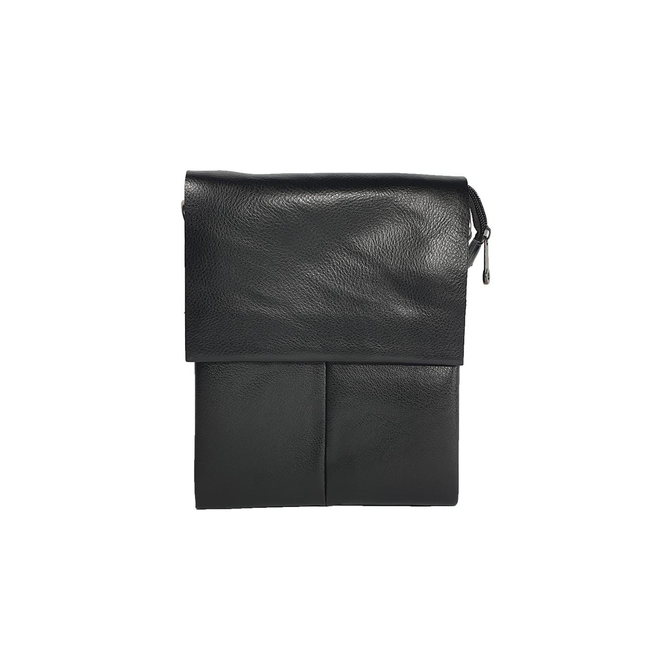 Многосекционная сумка с кожаным клапаном, средняя