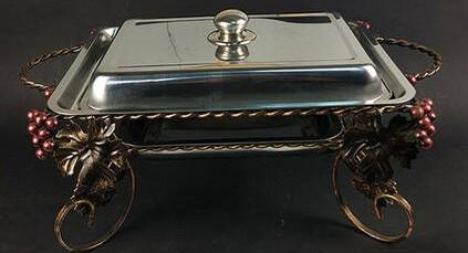 Садж кованный для подогрева шашлыка с прямоугольным блюдом+ крышка