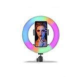 Кольцевая LED лампа 26см RGB с штативом, лампа блогера, фотографа, фото 10