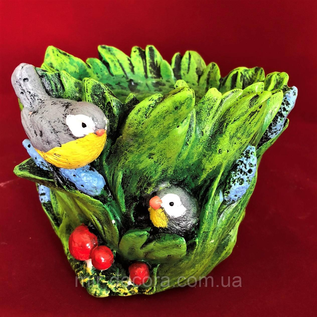 Красивое кашпо садовые фигурки Птички в камыше