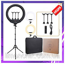 Светодиодная кольцевая лампа 45см с 3 держателями, пультом, чехол, штатив, лампа блогера, фотографа