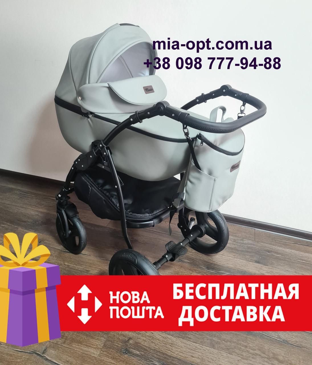 Детская коляска 2 в 1 Classik (Классик) Victoria Gold эко кожа серая