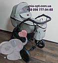 Детская коляска 2 в 1 Classik (Классик) Victoria Gold эко кожа серая, фото 2