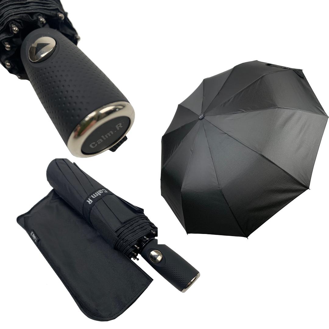 """Мужской складной зонт-полуавтомат на 10 спиц с системой """"антиветер"""" от Calm Rain, прямая ручка, черный, 360-1"""