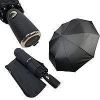 """Мужской складной зонт-полуавтомат на 10 спиц с системой """"антиветер"""" от Calm Rain, прямая ручка, черный, 360-1, фото 1"""