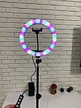 Кольцевая  лампа 26см RGB со штативом 2,1м, лампа блогера, фотографа, светодиодная лед лампа, фото 7