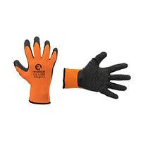 """Перчатка оранжевая вязанная синтетическая, покрытая черным рифленым латексом на ладони 9"""" INTERTOOL SP-0120, фото 1"""