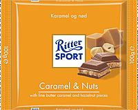 Молочный шоколад Ritter Sport с начинкой карамель-орех 100г.